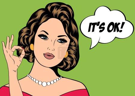 Illustration pour Illustration Pop Art de la fille avec la bulle de la parole. Une invitation. Carte de voeux d'anniversaire.Affiche publicitaire vintage. Femme de mode avec bulle de parole. - image libre de droit