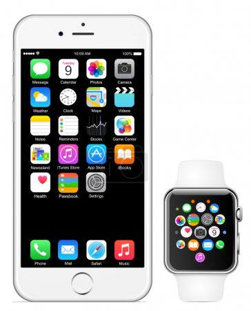 Illustration for Iphone 6 and Apple watch vector illustration eps10 - Royalty Free Image