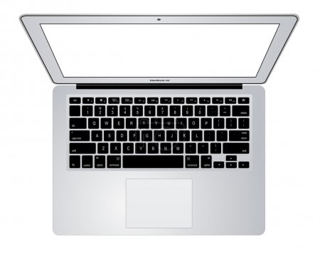 Top view of modern laptop