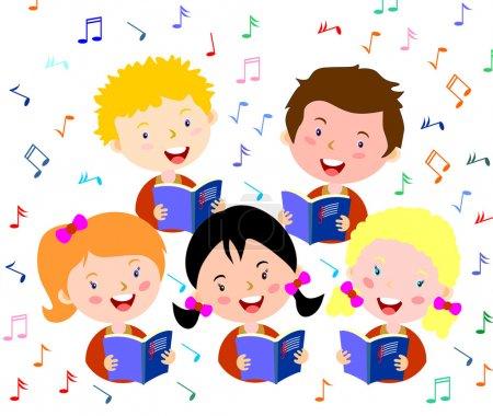 Children choir. Kids choir singing.