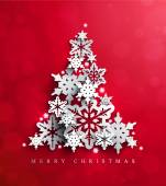 Christmas and New Years vector card with Christmas Tree on red background