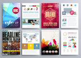 Set of Design Templates for Brochures Flyers Mobile Technologies Applications and Online Services Typographic Emblems Logo Banners and Infographic Abstract Modern Backgrounds