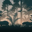 Vector evening in jungle with diferent animals...