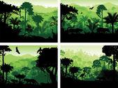 set of vector rainforest animals silhouettes design templates