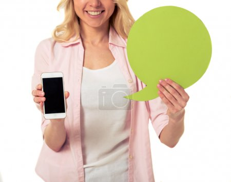 Girl with speech bubble and gadget