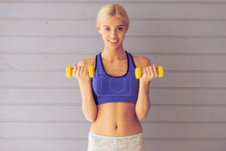 Beautiful girl working out
