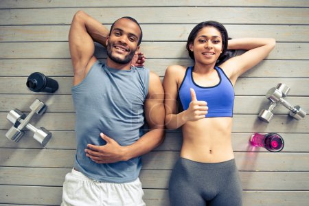 Afro American couple working out