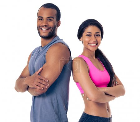 Beautiful Afro American sports couple