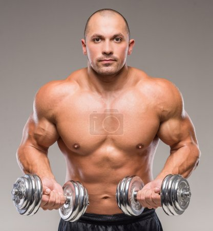 Photo for Muscular bald man posing with weights on a gray background. - Royalty Free Image