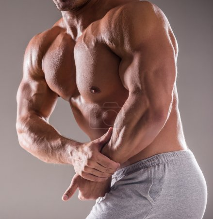 Photo for Bodybuilder in good shape against gray background. Man posing, showing his muscle definition. - Royalty Free Image