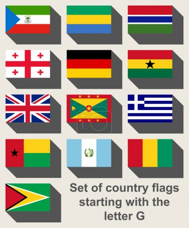 Set of flags starting with the letter G in flat we...