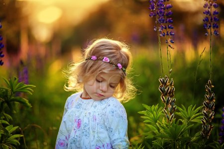 Beautiful little girl with blue flowers on the field. Sunshine. Blonde hair.
