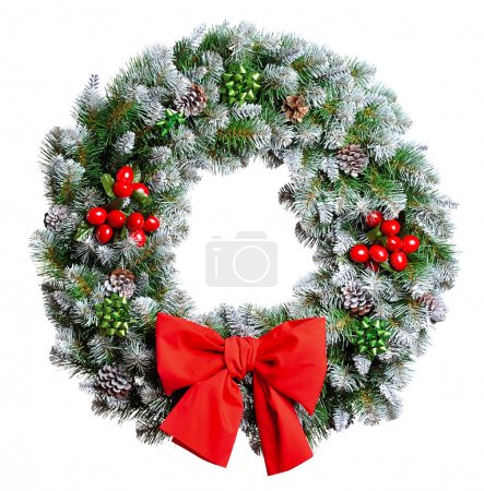 Photo for Christmas wreath isolated on white background - Royalty Free Image