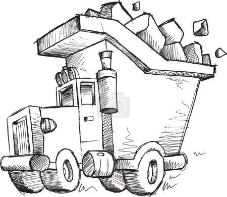 Doodle Sketch Dump Truck