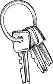 Doodle sketch of keyring with Keys