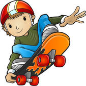 Happy Cartoon Skateboard Boy Wearing a Helmet and Doing a Cool Trick
