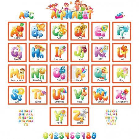 Illustration pour Alphabet avec photos pour enfants - image libre de droit