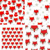 Set of seamless pattern with cute foxes Vector background