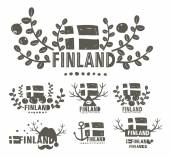 black and white labels of Finland