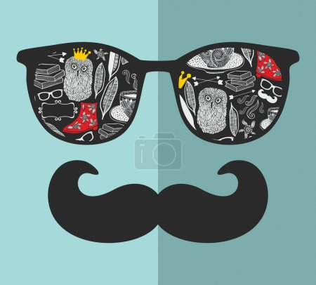 man in sunglasses and with moustache
