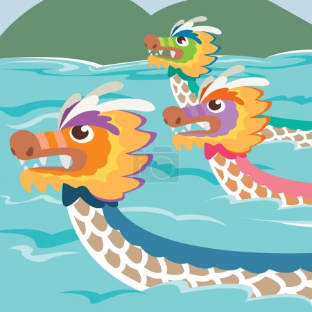 Dragon boat racing illustration