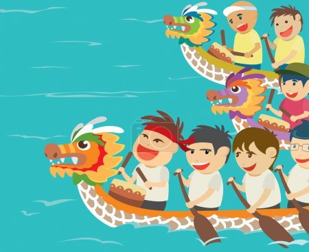 Vector illustration of happy kids in a boat race