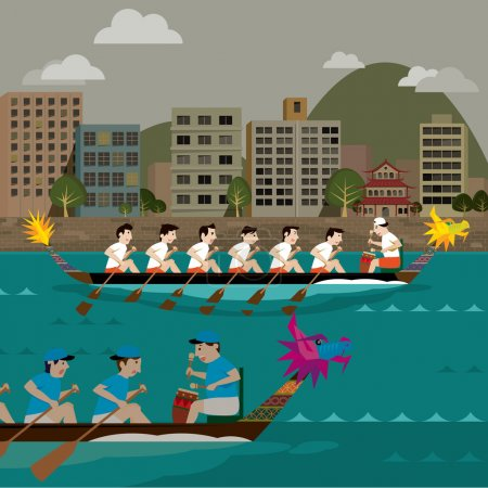 Two Dragon boat racing vector illustration