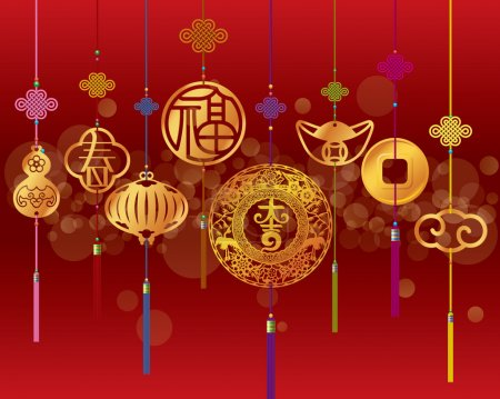 Illustration for Chinese New year decoration background with hanging golden pendant - Royalty Free Image