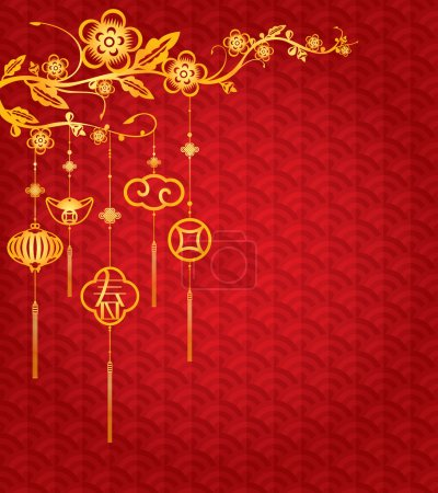 Chinese New Year Background with golden decoration