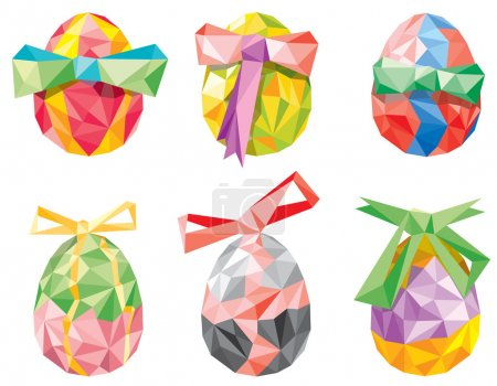 Illustration for Vector illustration of colorful Easter egg set in Low poly style - Royalty Free Image