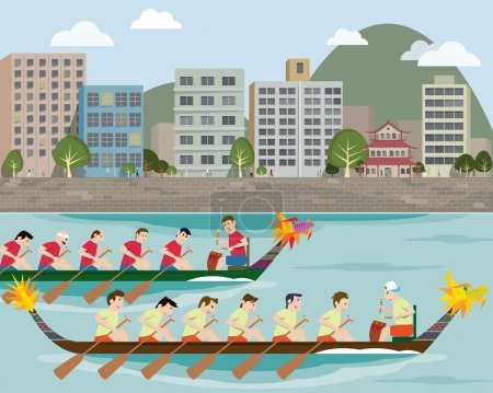 Dragon boat racing on the city harbour