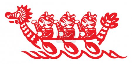 Chinese play the Dragon boat in paper cut style