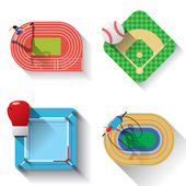 Sport fields illustration icons set with long shadow Track and field baseball boxing track cycling