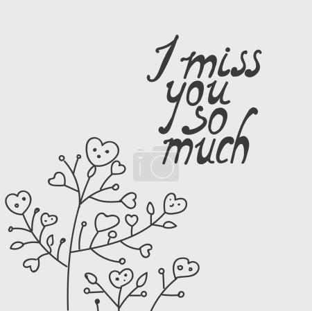 Illustration pour Tu me manques tellement. Lettrage dessin à la main - image libre de droit