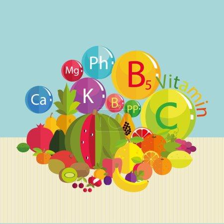 fresh fruit and vitamins