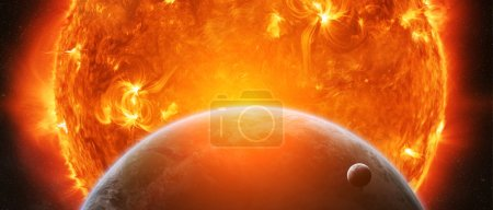 Exploding sun in space close to planet Earth and moon