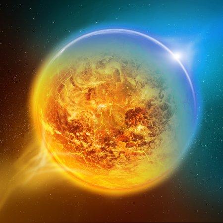 Photo pour Effet du réchauffement de la planète vue de la terre depuis l'espace - image libre de droit