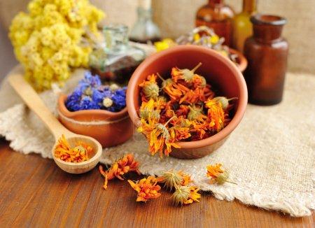 Photo pour Plantes et teintures curatives en bouteille sur sac, fleurs séchées, plantes médicinales - image libre de droit