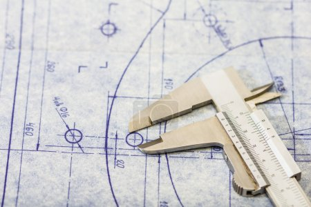 Very detailed mechanical engineering blueprint with gauge
