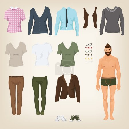 Male hipster dress up paper doll