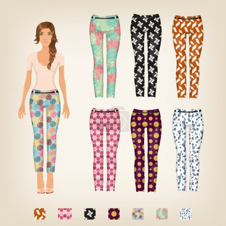 Doll with an assortment of patterned pants