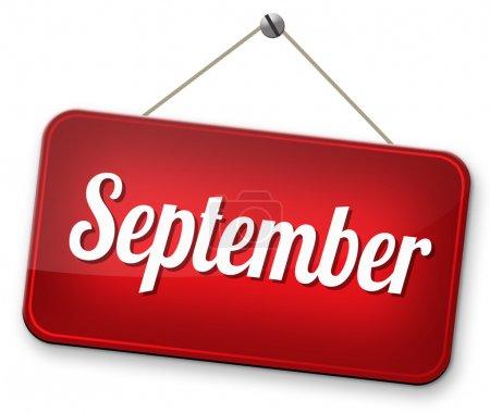 Photo pour Septembre fin été et début automne ou automne mois agenda de l'événement - image libre de droit