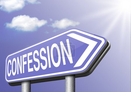 Photo pour Plaidoyer de signe de route de confession comme accusé et confesser le témoignage de crime ou la vérité de preuve - image libre de droit