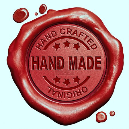 Photo pour Hand made exclusive handmade hand craft custom crafted authentic one of a kind red wax seal stamp button - image libre de droit