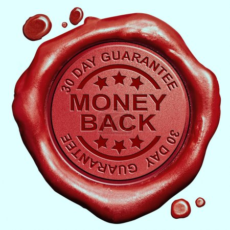 Photo pour Money back 30 days guaranteed red wax seal stamp 100 percent satisfaction customer service - image libre de droit