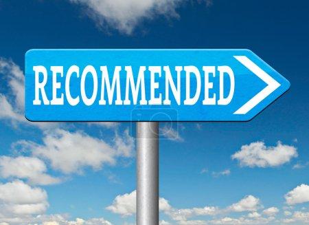 Photo pour Recommandation d'examen de produit de qualité supérieure pour meilleure solution optimale de choix a recommandé - image libre de droit