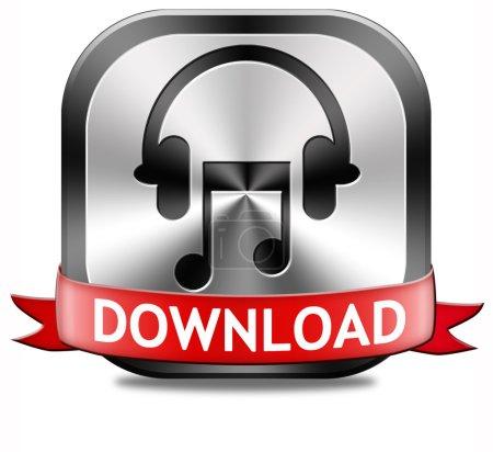 Photo pour Musique Télécharger bouton play et à l'Ecoute en direct ou pour télécharger la chanson mp3 - image libre de droit