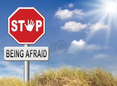 Photo for Stop being afraid, fear for snakes, height, needles, spiders, darkness, arachnophobia, phobia psychological paralysis panic attack - Royalty Free Image