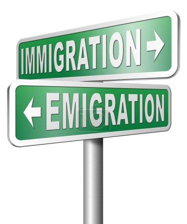 Immigration or emigration sign
