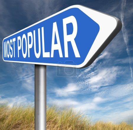 Photo pour Plus populaire Popularité signe pour produit Best-seller ou marché de leader et de haut ou de classement dans les charts - image libre de droit